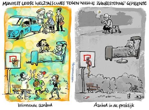 Cartoon: Welzijn aanbesteden leidt tot tot schrale werkelijkheid