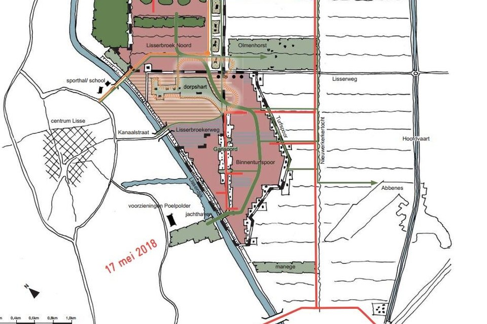 Lisserbroek 2040 met de nieuwe woonwijken en bruggen.