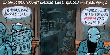 Cartoon: Vragen over relatie projectontwikkelaar met gemeente Leiden