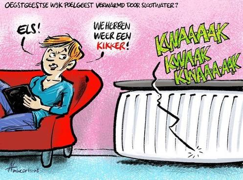 Cartoon: Poelgeest verwarmd door slootwater?