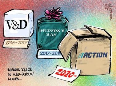 Cartoon: Action in V&D-gebouw?