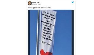 Bewoner haalt omstreden vlag met Hitler-citaat weg uit tuin Voorhout