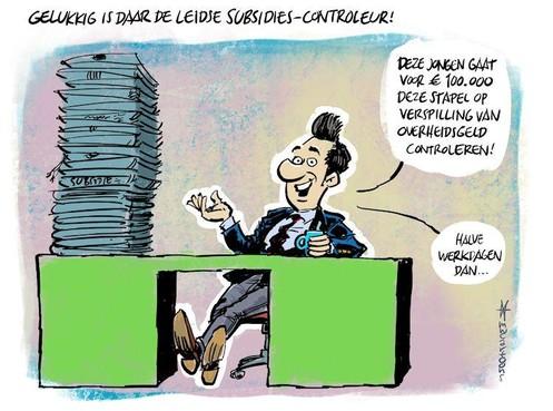 Cartoon Maarten Wolterink: Subsidies tegen het licht voor veel geld