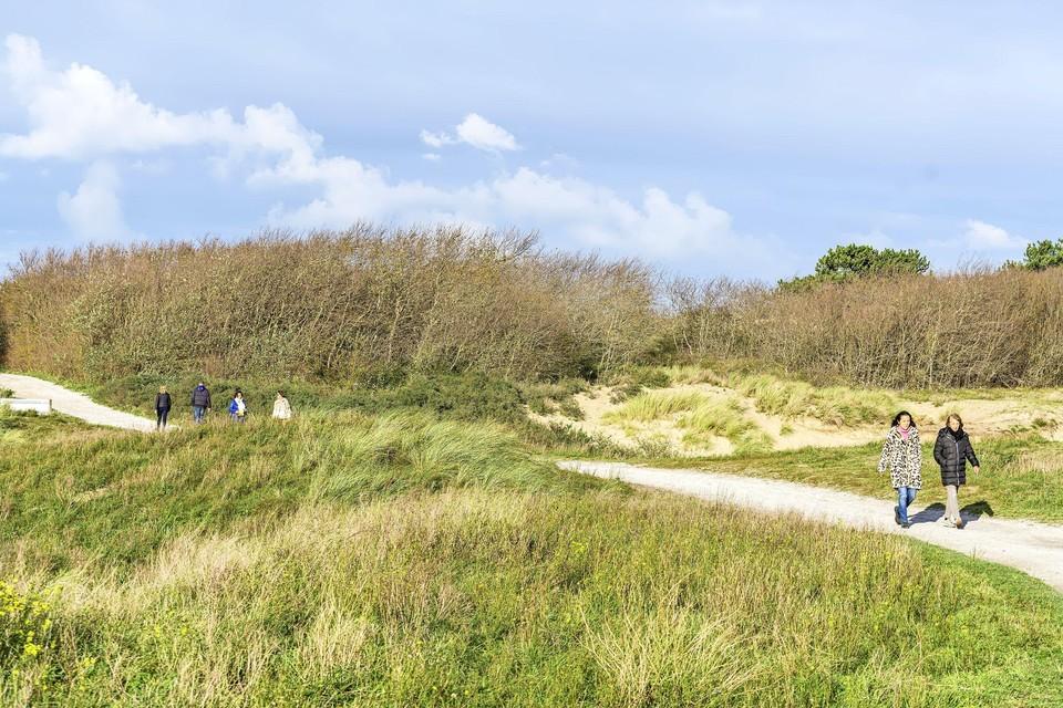Wandelaars in de duinen van Katwijk.