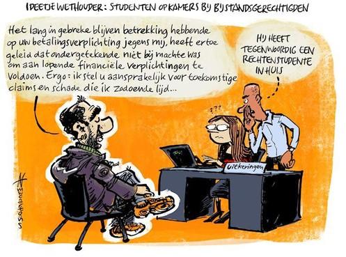 Cartoon: Studenten op kamers bij bijstandsgerechtigden