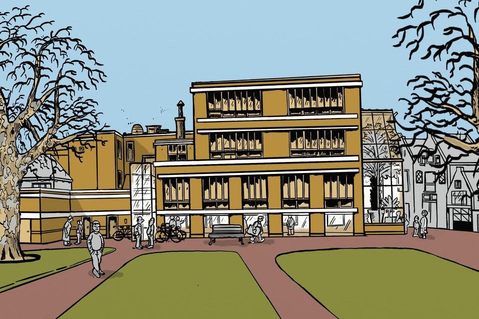 Zo moet de Kaasmarktschool er uit gaan zien, met ramen tot straatniveau zodat iederen in de ateliers kan kijken.