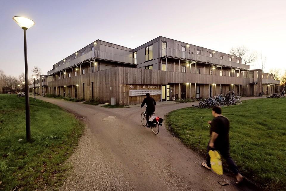 De honderd prefab stapelwoningen aan het Nico van der Horstpark staan in een carrévorm rond een grote binnentuin.