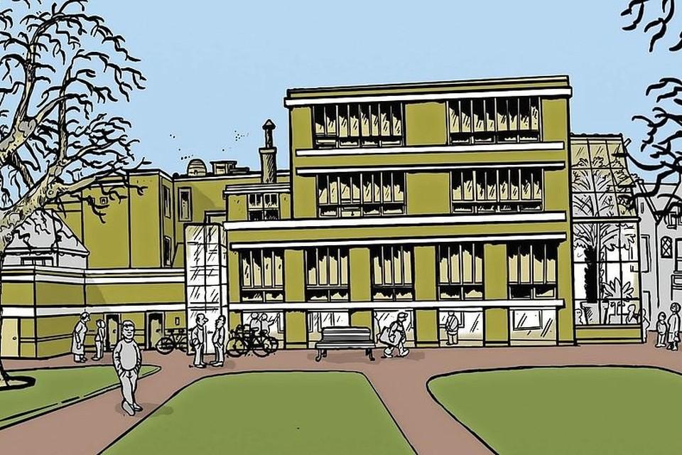 Kunstenaar Barthel Brussee schetste een toekomstbeeld van de school, gezien vanaf de Kaasmarkt.