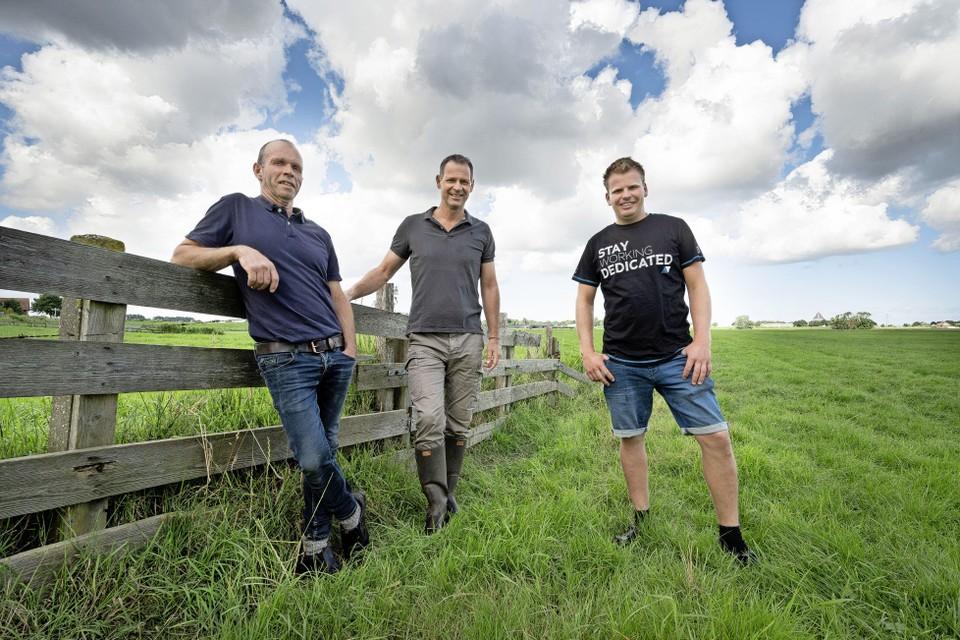 Mart Duineveld, Jeroen Koppert en Bas Duineveld in de Rooversbroekpolder.
