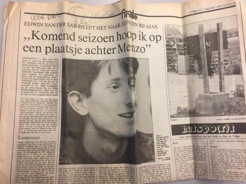 Edwin van der Sar: bloednerveus voor een van zijn eerste interviews als jong keeperstalent in de Leidse Courant