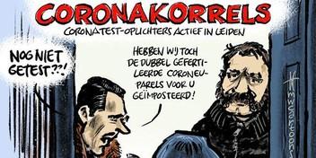 Cartoon: Babbeltruc met coronatesten in Leiden