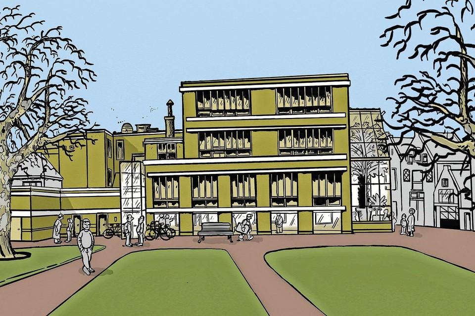 De Leidse kunstenaar Barthel Brussee maakte deze tekening van de Kaasmarktschool als nieuwe culturele hotspot.