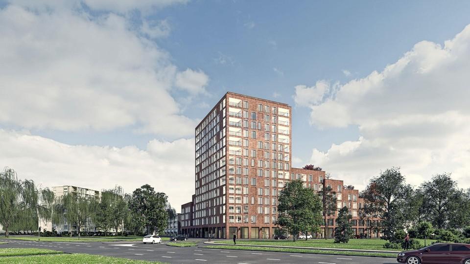 Appartementencomplex Blei zoals het er vanaf de Rooseveltstraat uit moet gaan zien.