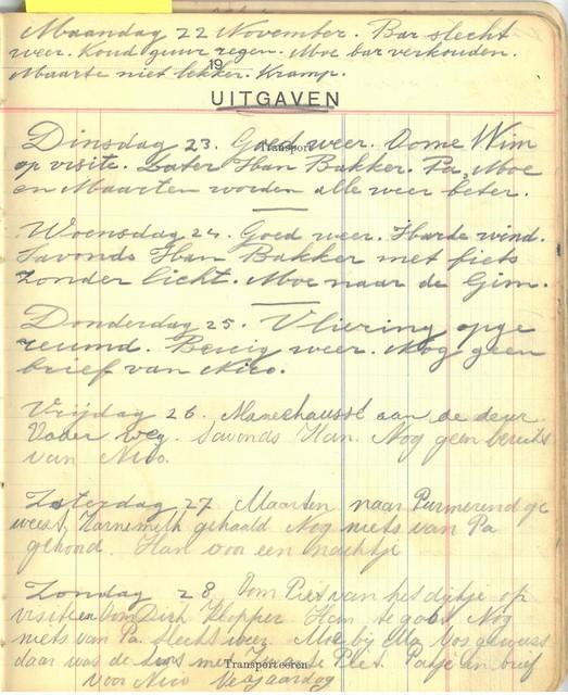 Pagina uit het dagboek. Op 26 november 1943 wordt Willem de Groot opgepakt, en vanaf dat moment zijn de aantekeningen van Han.