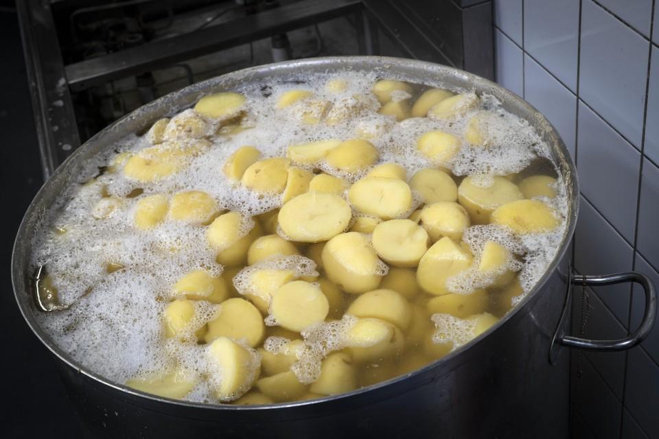 De aardappels staan op.
