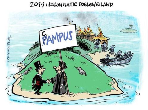 Cartoon Maarten Wolterink: Universiteit en college koloniseren het Doelencomplex