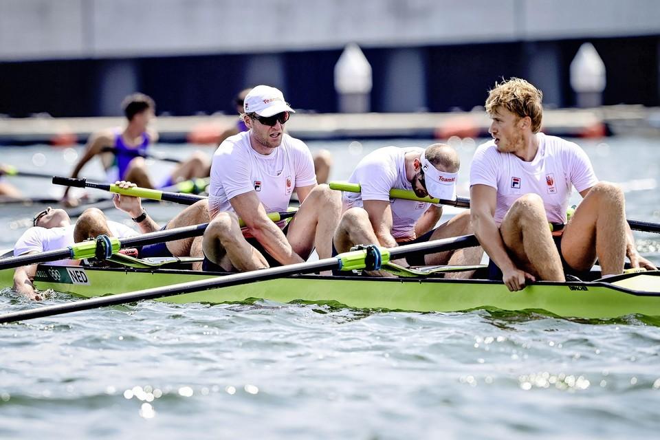 Jan van der Bij, Boudewijn Roëll, Sander de Graaf en Nelson Ritsema tijdens de finale mannen vier-zonder op de Sea Forest Waterway tijdens de Olympische Spelen van Tokio.