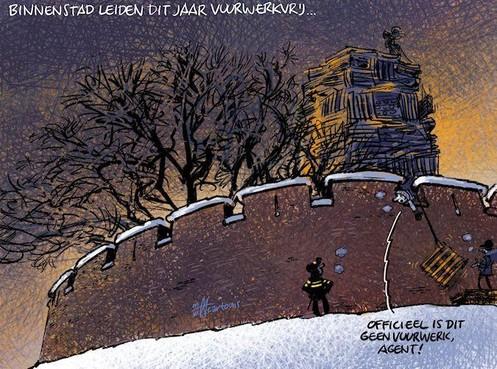 Cartoon: Centrum Leiden vuurwerkvrij