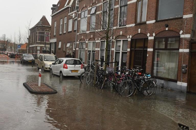 Waterballet in Sophiastraat Leiden door gesprongen leiding, water loopt huizen in [video]
