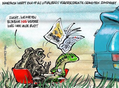 Cartoon: Noordwijk wil drukte Grand Prix Zandvoort wel opvangen