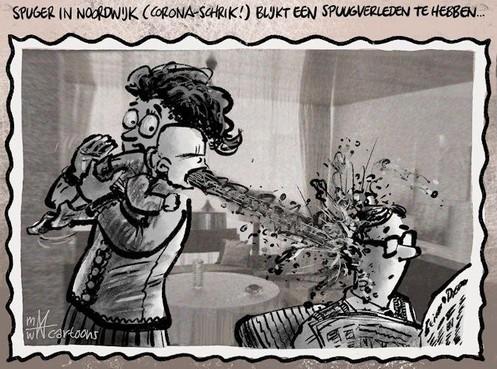 Cartoon: Coronaspuger heeft spuugverleden