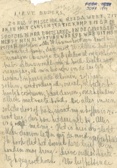 Het briefje dat hij in 1944 verstuurde bewaart Nic Snaas nog steeds.