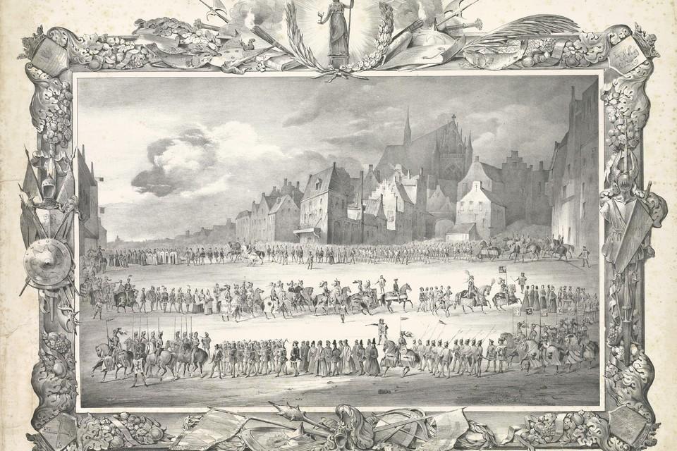 In 1840 hielden de studenten van 'Leidse hogeschool' een maskerade waarin zij de intocht van Jan van Beieren in 1420 overdeden.