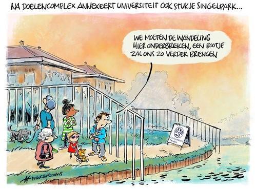 Cartoon: Universiteit sluit stukje Singelpark af