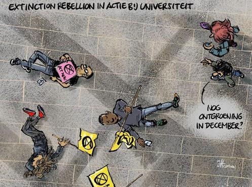 Cartoon: Extinction Rebellion in actie bij universiteit