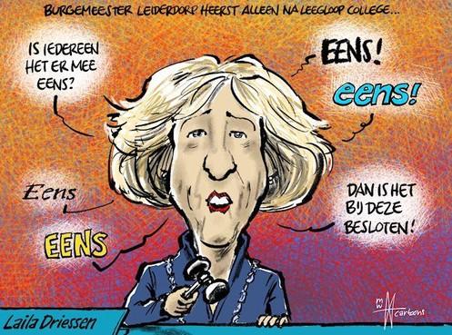 Cartoon: Alleenheerser in Leiderdorp tegen wil en dank
