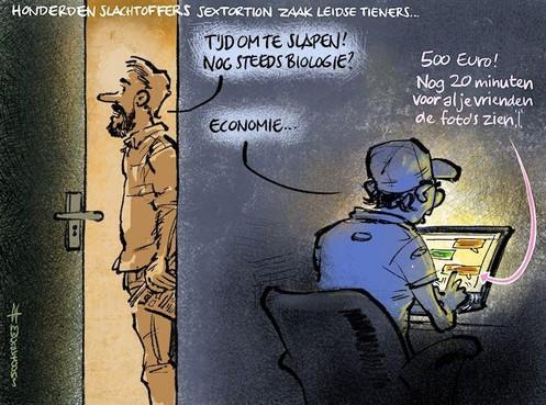 Cartoon: Sextortion door Leidse tieners
