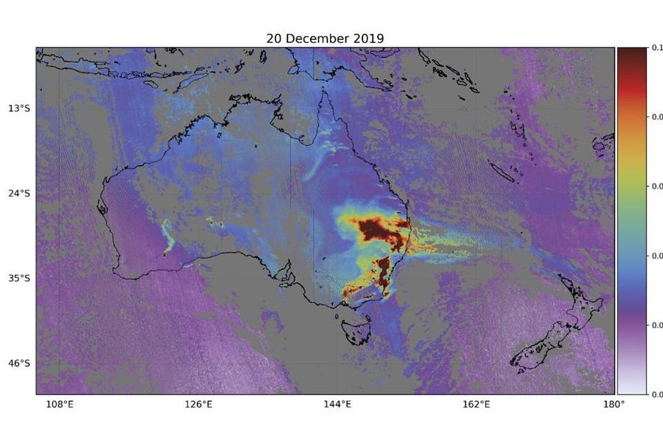 Koolonoxideconcentratie boven Zuidoost-Australië tijdens de 'Black Summer'.