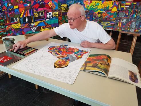 Tekening van Alphense kunstenaar Arno Blom naar internationale tentoonstelling ParaArt in Tokyo