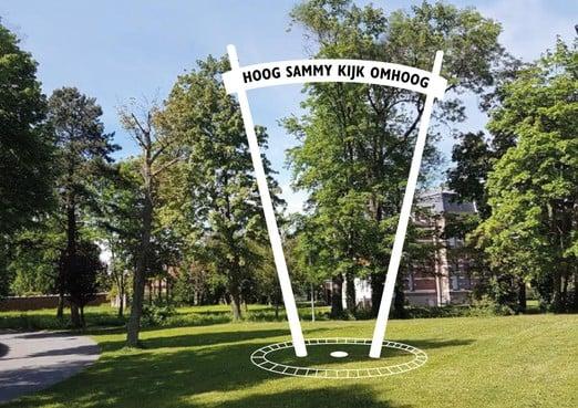 Monument voor Ramses Shaffy achter station Leiden Centraal